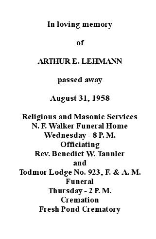 Memory Card - Arthur E. Lehmann