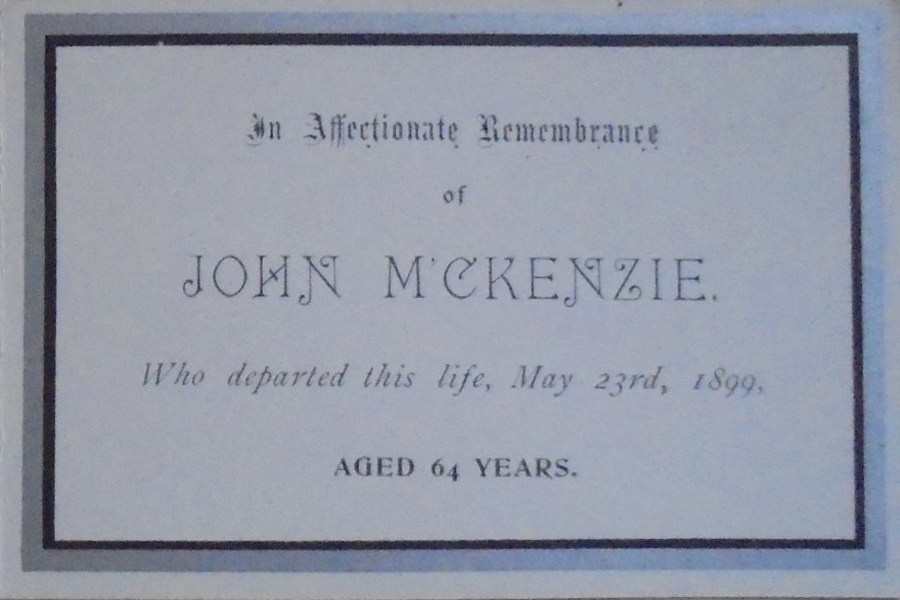 Memorial Card - John McKenzie