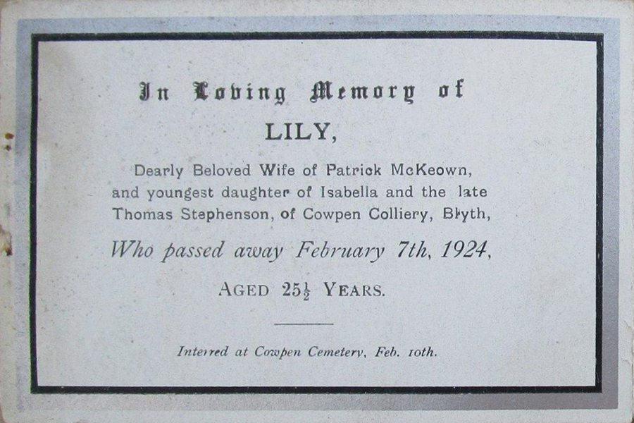 Memorial Card - Lily McKeown