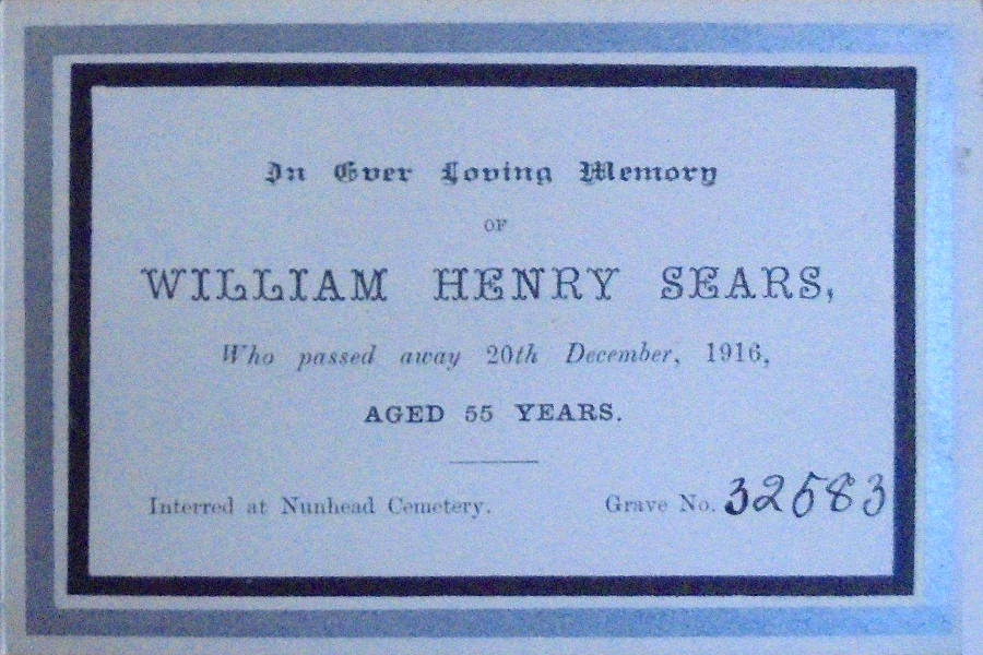 Memorial Card - William Henry Sears