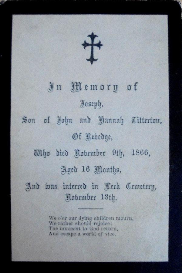 Memorial Card - Joseph Titterton