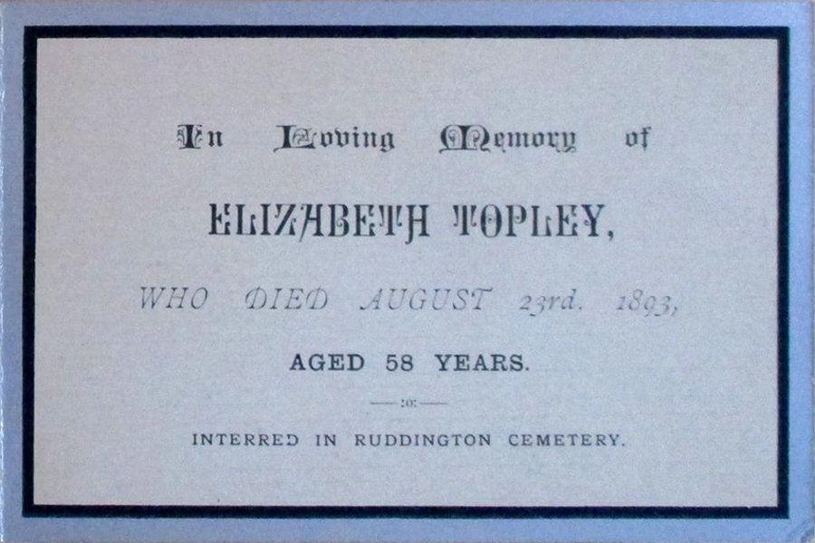 Memorial Card - Elizabeth Topley